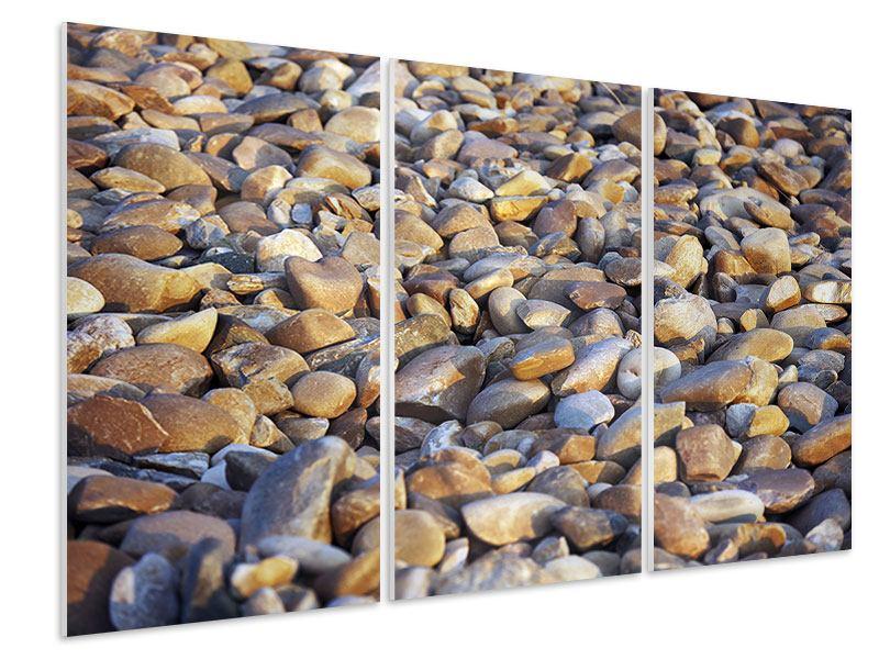 Hartschaumbild 3-teilig Strandsteine