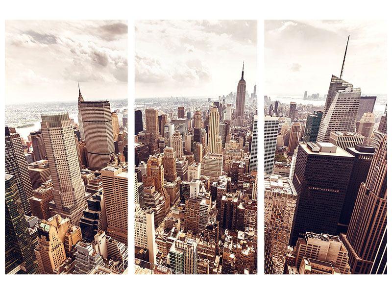 Hartschaumbild 3-teilig Skyline Über den Dächern Manhattans