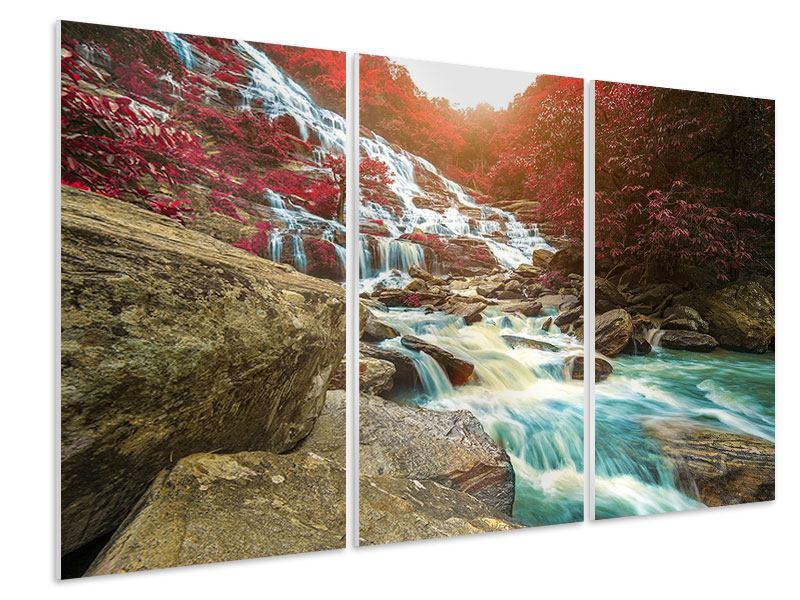 Hartschaumbild 3-teilig Exotischer Wasserfall