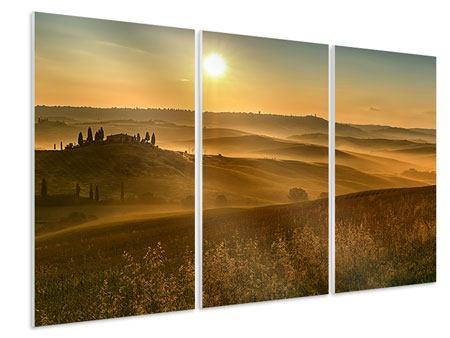 Hartschaumbild 3-teilig Sonnenuntergang im Gebirge