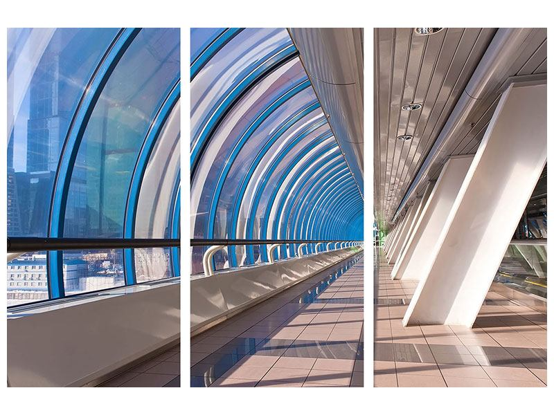 Hartschaumbild 3-teilig Hypermoderne Brücke