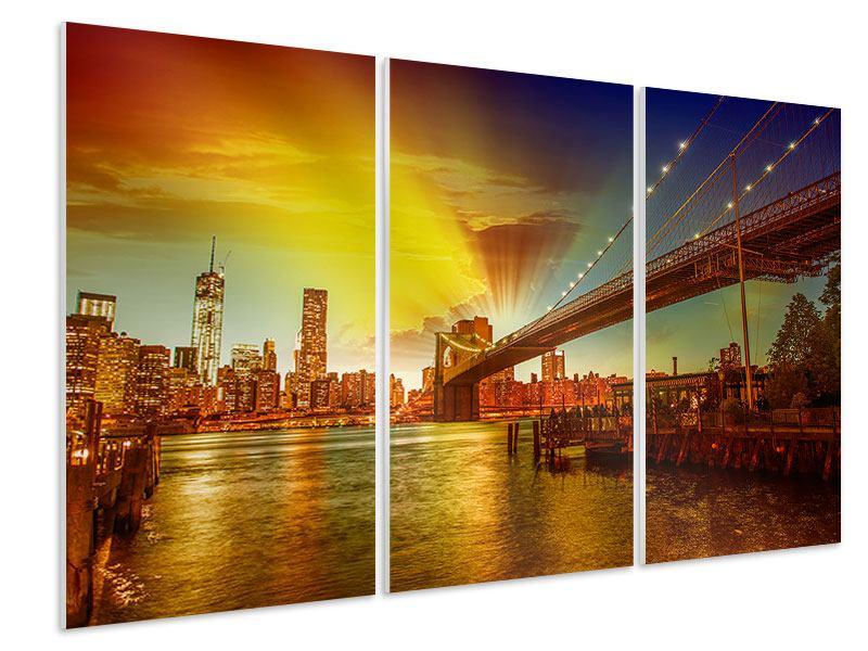 Hartschaumbild 3-teilig Skyline Brooklyn Bridge NY