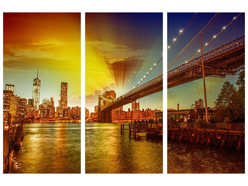 Hartschaumbild 3-teilig Skyline Brooklyn Bridge NY