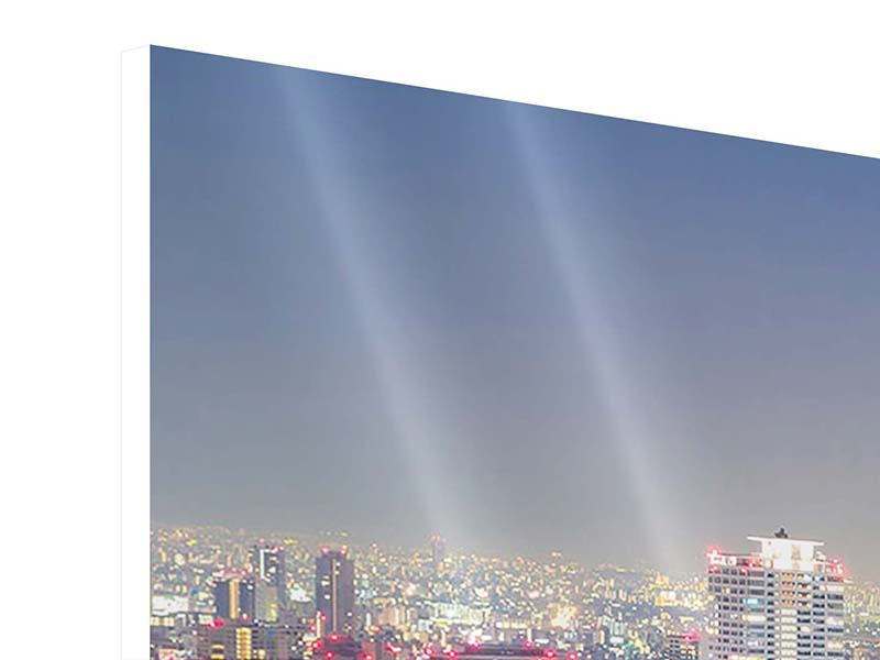 Hartschaumbild 3-teilig Skyline Osaka bei Sonnenuntergang