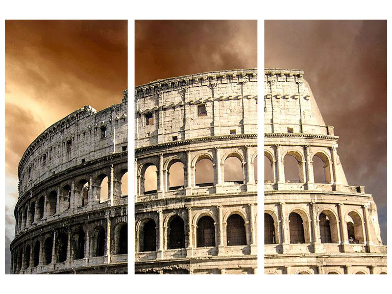 Hartschaumbild 3-teilig Kolosseum Rom