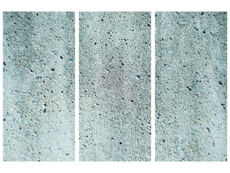 Hartschaumbild 3-teilig Beton in Grau