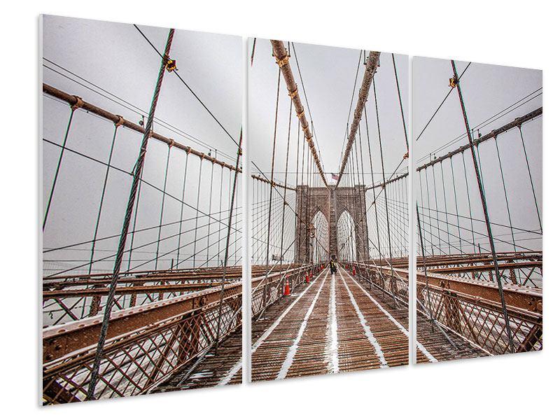Hartschaumbild 3-teilig Auf der Brooklyn Bridge