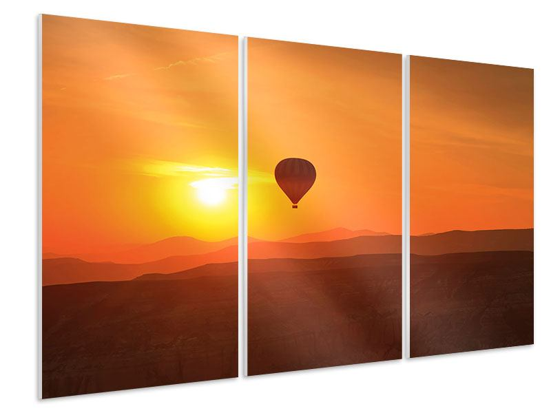 Hartschaumbild 3-teilig Heissluftballon bei Sonnenuntergang