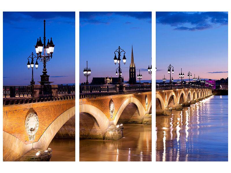 Hartschaumbild 3-teilig Pont De Pierre bei Sonnenuntergang