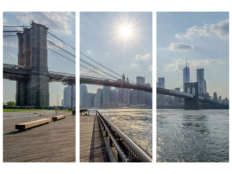 Hartschaumbild 3-teilig Brooklyn Bridge