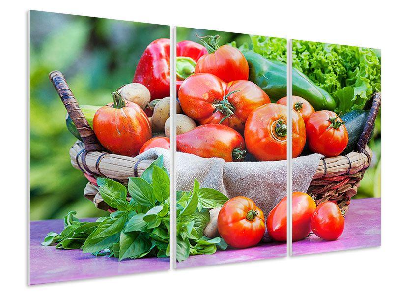 Hartschaumbild 3-teilig Gemüsekorb