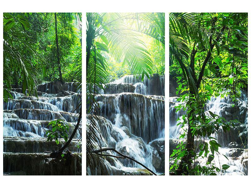 Hartschaumbild 3-teilig Wasserfall Agua Azul