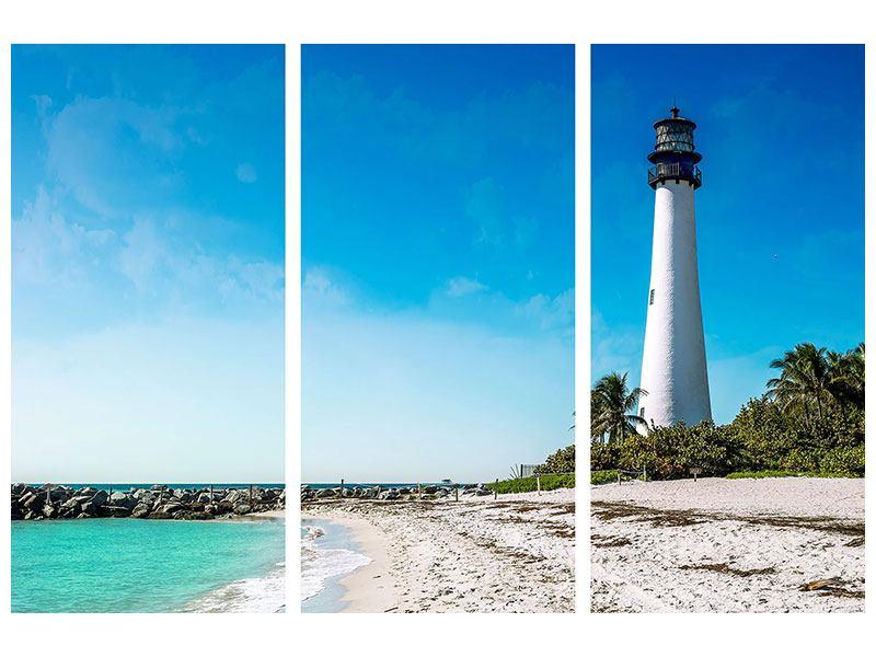 Hartschaumbild 3-teilig Cape Florida Ligthhouse