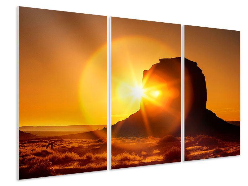 Hartschaumbild 3-teilig Sonnenuntergang Monument Valley