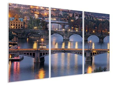 Hartschaumbild 3-teilig Brücken in Prag