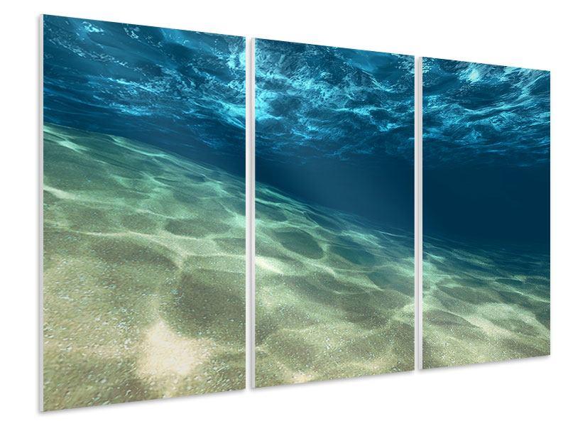 Hartschaumbild 3-teilig Unter dem Wasser