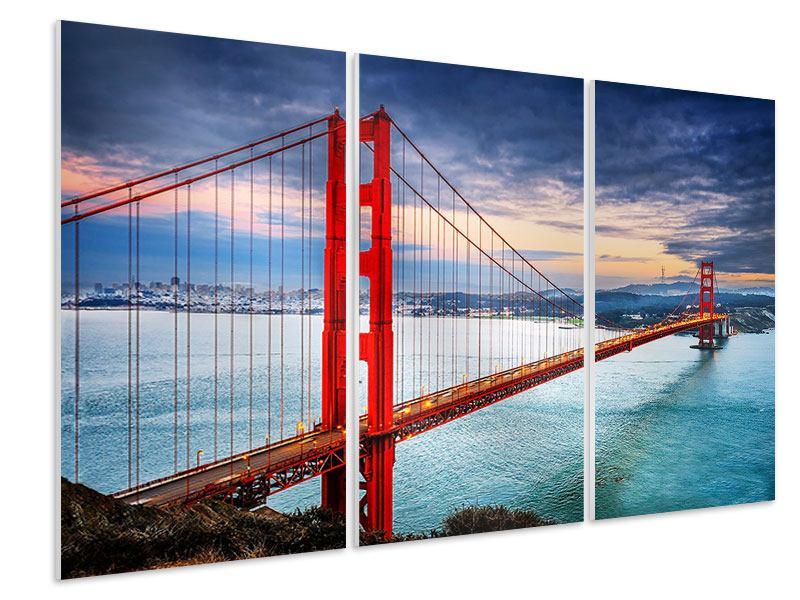 Hartschaumbild 3-teilig Der Golden Gate Bridge bei Sonnenuntergang