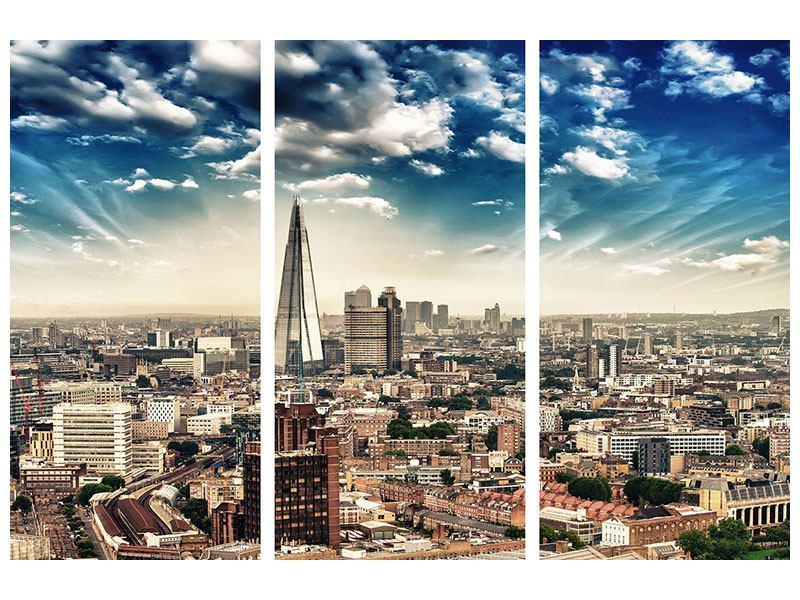Hartschaumbild 3-teilig Skyline Über den Dächern von London