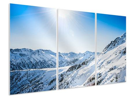 Hartschaumbild 3-teilig Bergpanorama im Schnee
