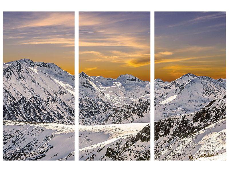 Hartschaumbild 3-teilig Sonnenuntergang in den Bergen