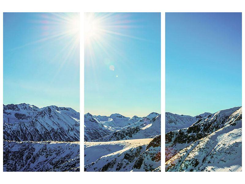 Hartschaumbild 3-teilig Sonnige Berggipfel im Schnee
