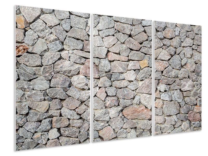 Hartschaumbild 3-teilig Grunge-Stil Mauer