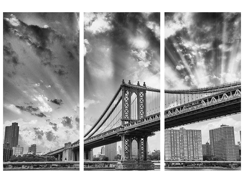 Hartschaumbild 3-teilig Manhattan Bridge