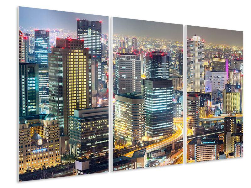 Hartschaumbild 3-teilig Skyline Osaka im Lichtermeer