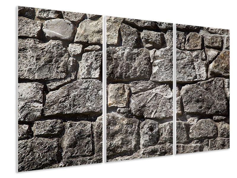 Hartschaumbild 3-teilig Grosses Mauerwerk