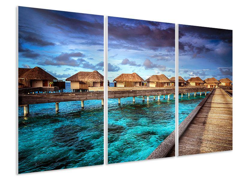 Hartschaumbild 3-teilig Traumhaus im Wasser