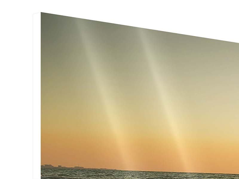 Hartschaumbild 3-teilig Sonnenuntergang am Meer