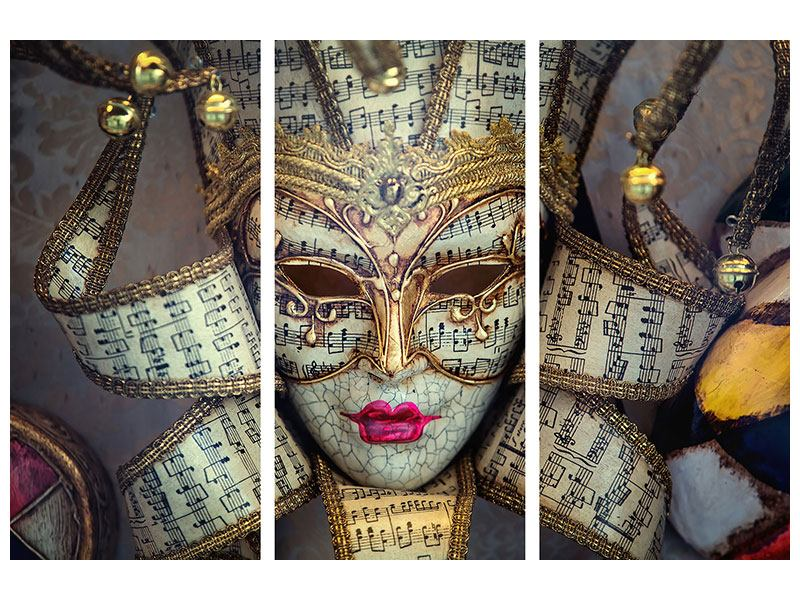 Hartschaumbild 3-teilig Venezianische Maske