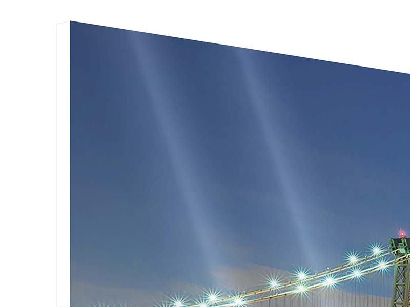 Hartschaumbild 3-teilig Brooklyn Bridge bei Nacht