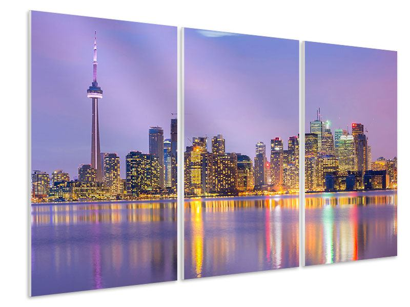 Hartschaumbild 3-teilig Skyline Toronto bei Nacht