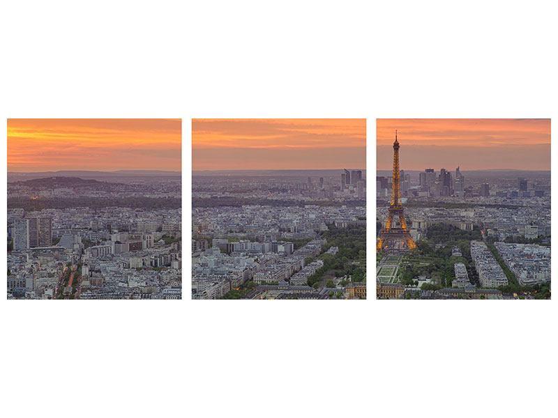Panorama Hartschaumbild 3-teilig Skyline Paris bei Sonnenuntergang