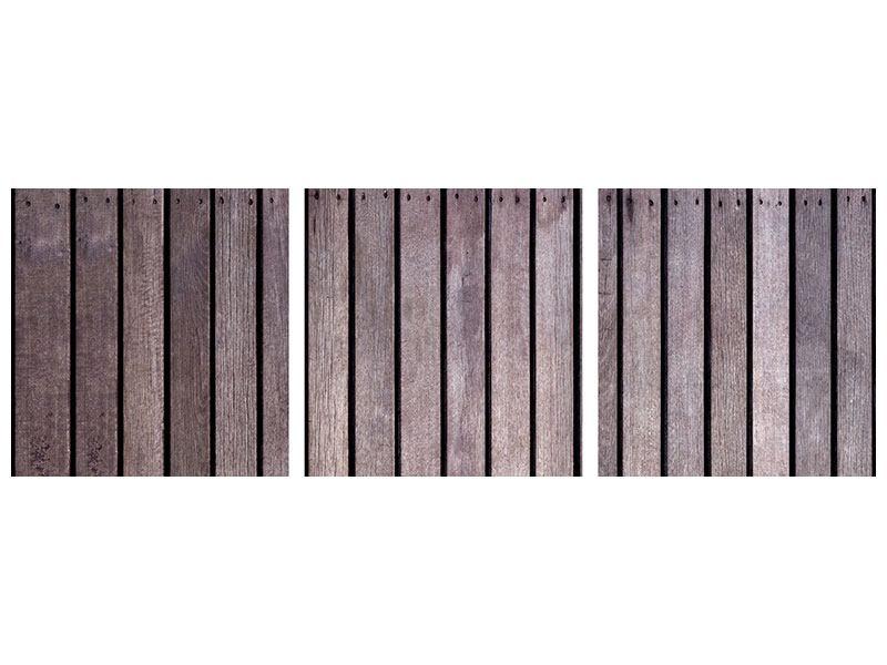 Panorama Hartschaumbild 3-teilig Holzwand