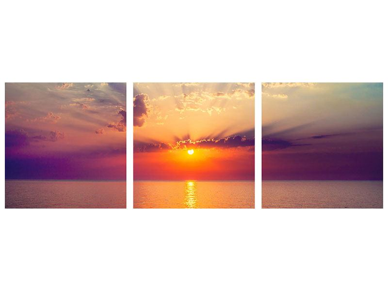 Panorama Hartschaumbild 3-teilig Mystischer Sonnenaufgang