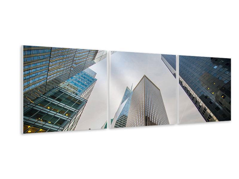 Panorama Hartschaumbild 3-teilig Hochhäuser