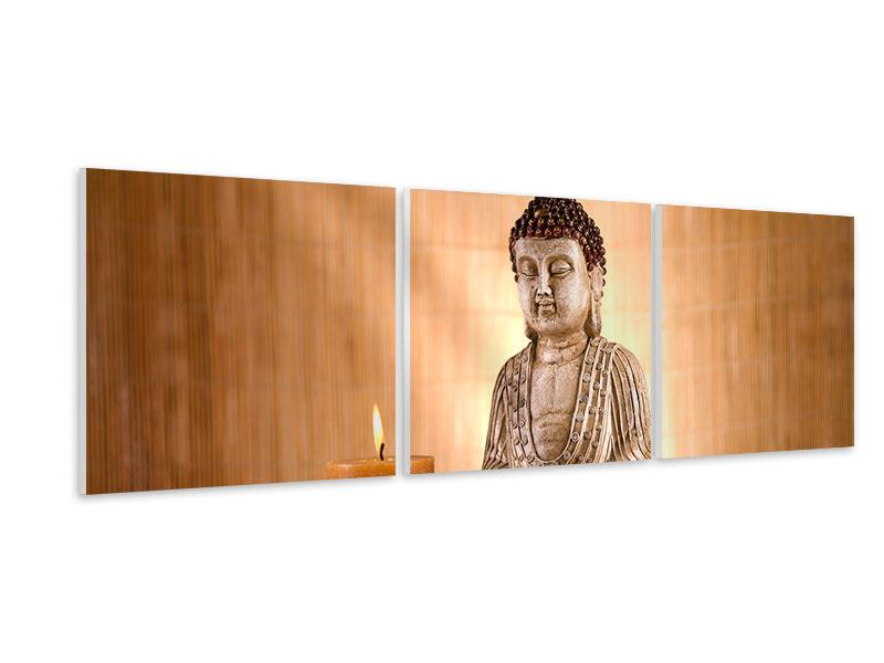 Panorama Hartschaumbild 3-teilig Buddha in der Meditation