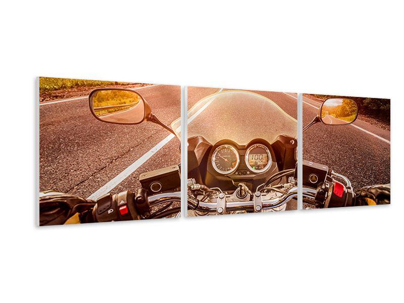 Panorama Hartschaumbild 3-teilig Motorrad-Tour
