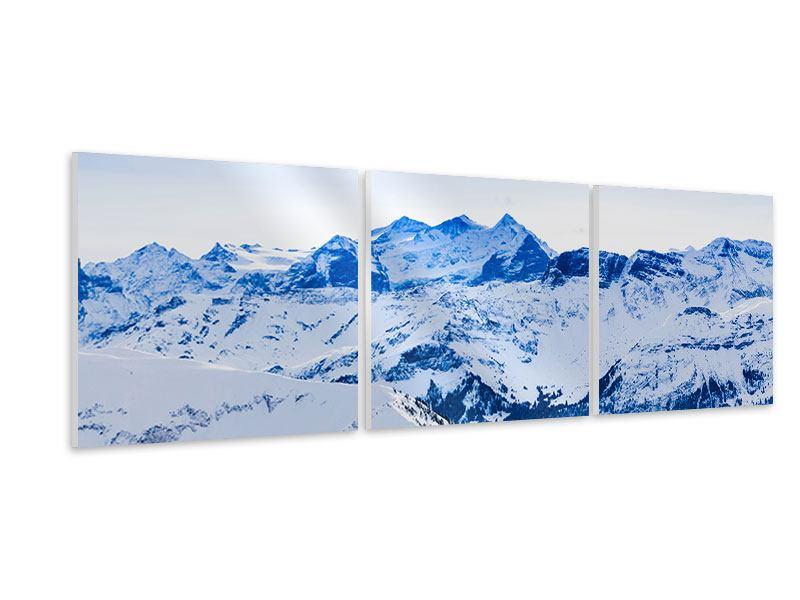 Panorama Hartschaumbild 3-teilig Die Schweizer Alpen
