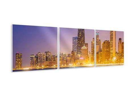 Panorama Hartschaumbild 3-teilig Skyline Chicago in der Nacht