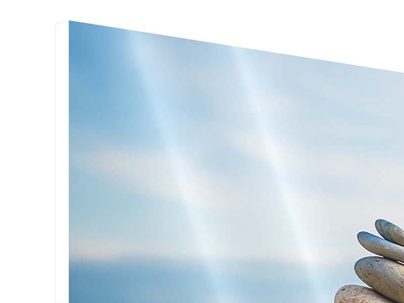 Panorama Hartschaumbild 3-teilig Drei Steinstapel