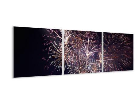 Panorama Hartschaumbild 3-teilig Feuerwerk