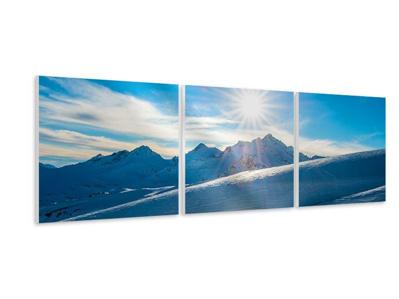 Panorama Hartschaumbild 3-teilig Ein Wintermärchen in den Bergen
