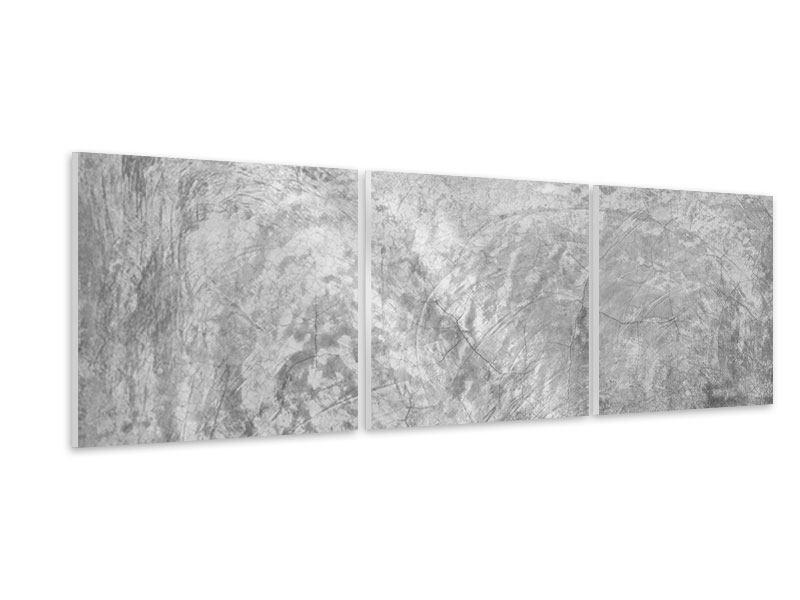 Panorama Hartschaumbild 3-teilig Wischtechnik in Grau
