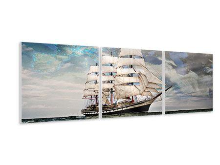 Panorama Hartschaumbild 3-teilig Segelschiff