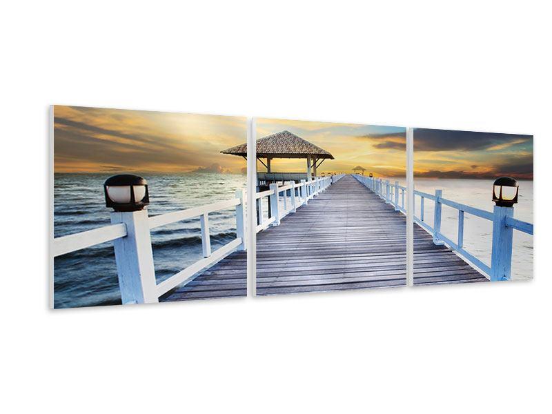 Panorama Hartschaumbild 3-teilig Die Brücke ins Meer