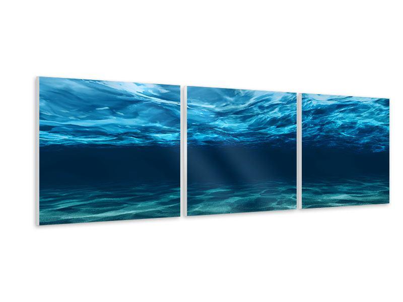 Panorama Hartschaumbild 3-teilig Lichtspiegelungen unter Wasser