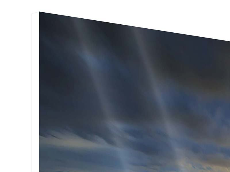 Panorama Hartschaumbild 3-teilig Der Sonnenuntergang bei der Holzbrücke